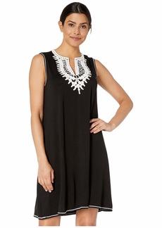 Max Studio Women's Crochet Trim Knit A-Line Dress  Extra Large