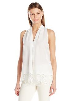 Max Studio Women's Embroidery Sleeveless Blouse White/White S
