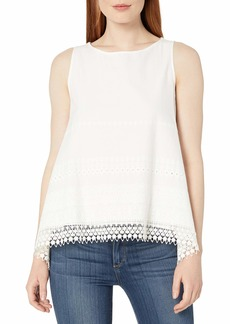 Max Studio Women's Eyelet Embroidery Sleeveless Blouse  L