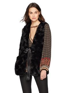 Max Studio Women's Faux Fur Vest with Tie  S