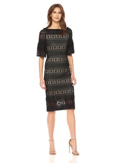 Max Studio Women's Flared Sleeve Stretch Lace Dress  L