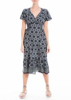 Max Studio Women's Flutter Sleeve Ruffle Midi Dress  Extra Small