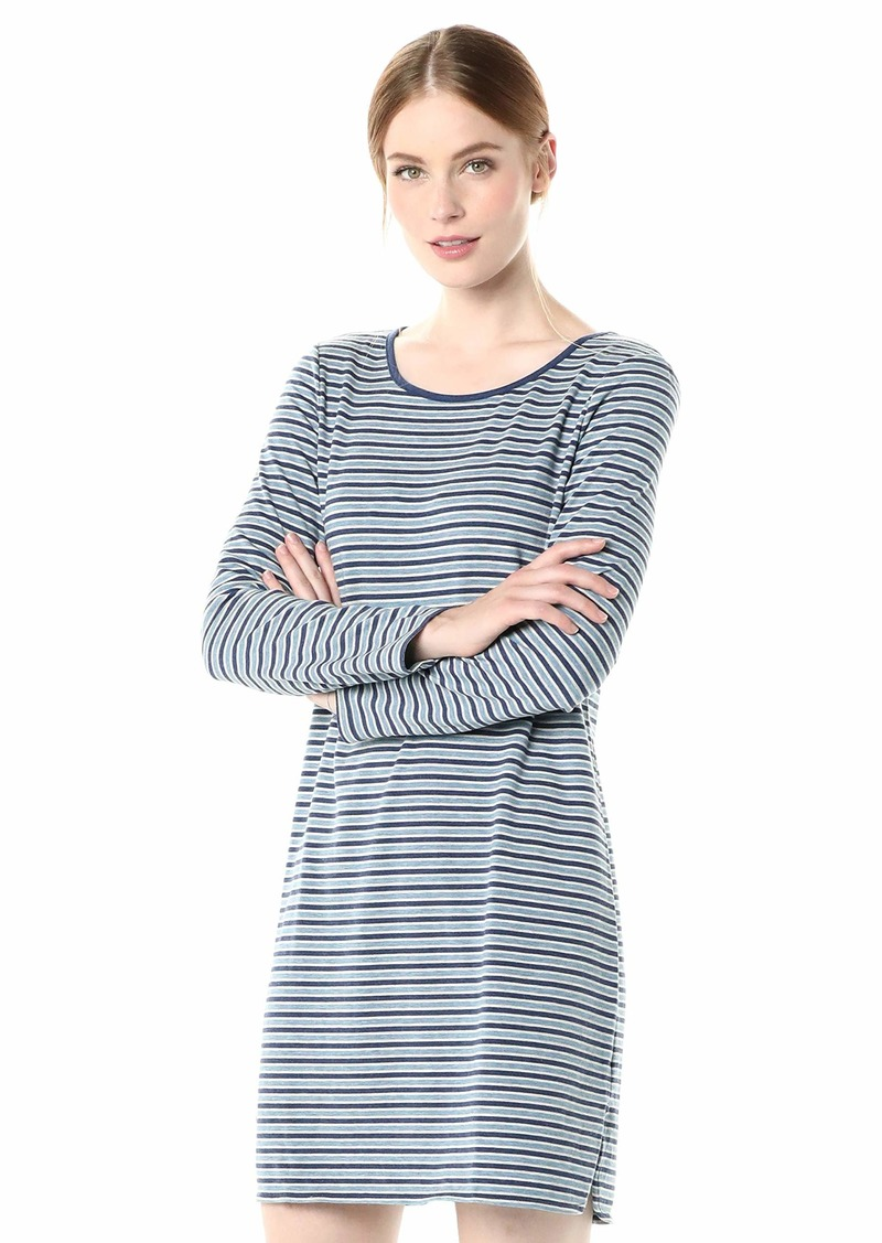 Max Studio Women's French Terry Dress Indigo Stonewash/Heather Bone Skinny Tri Stripe