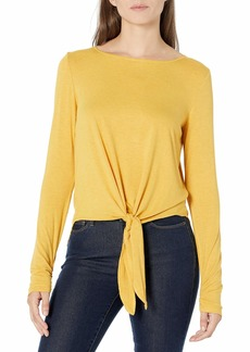 Max Studio Women's Front Tie Long Sleeve Jersey Knit Top