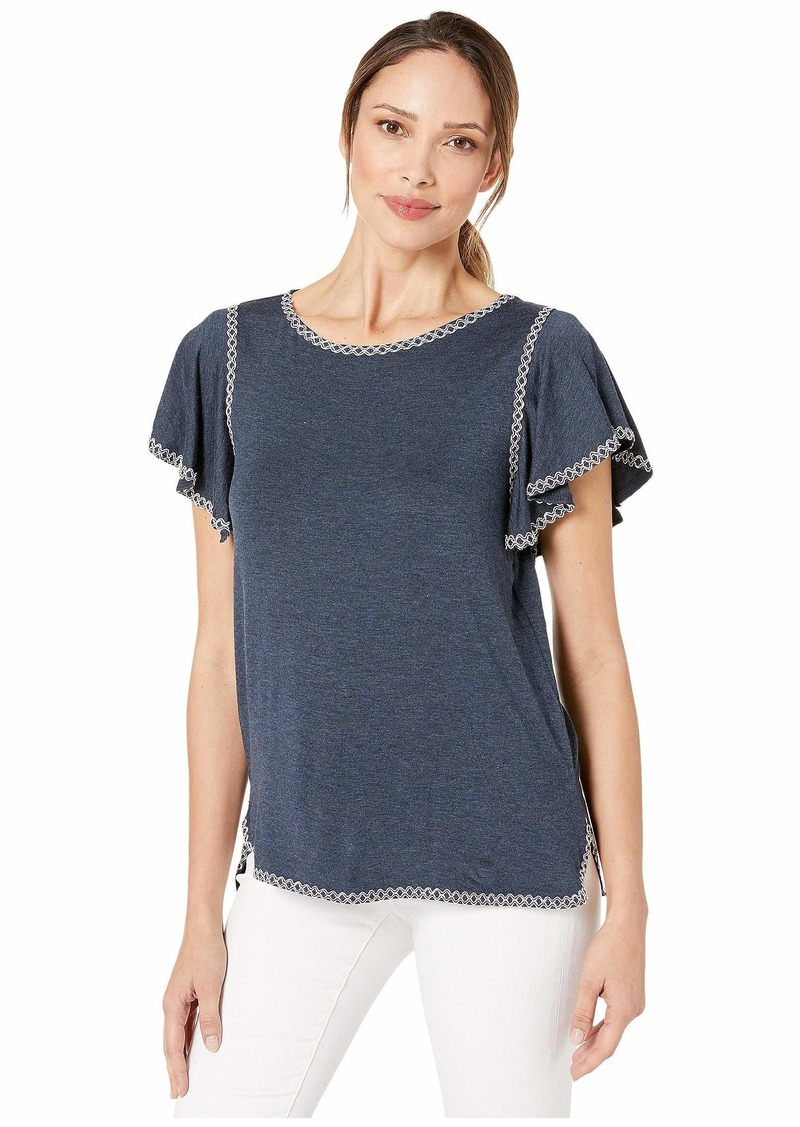 Max Studio Womens Heather Jersey Ruffle SLV top with emb Detail Navy/Ecru Extra Large