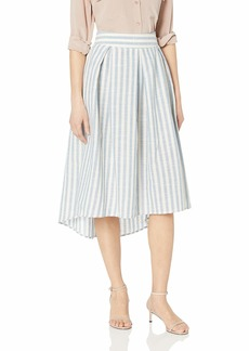 Max Studio Women's Hi-Low Hem Linen Blend Multi Color Stripe Skirt Blue/Cream
