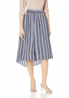 Max Studio Women's Hi-Low Hem Linen Blend Multi Color Stripe Skirt Navy/White Twinning