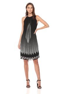 Max Studio Women's Hi-Neck Sleeveless Pleated Dress Black-Pink Pixel Gradation Panel XL