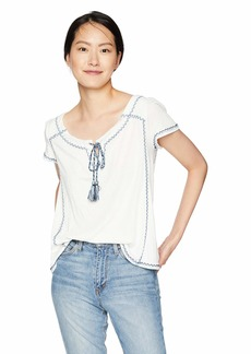 Max Studio Women's Knit Gauze Short Sleeve top with embordered Detail