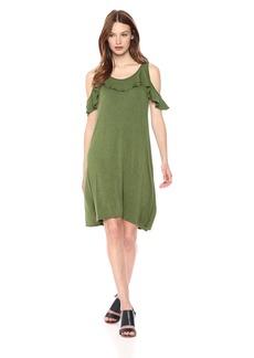 Max Studio Women's Knit Ruffle Popover Dress