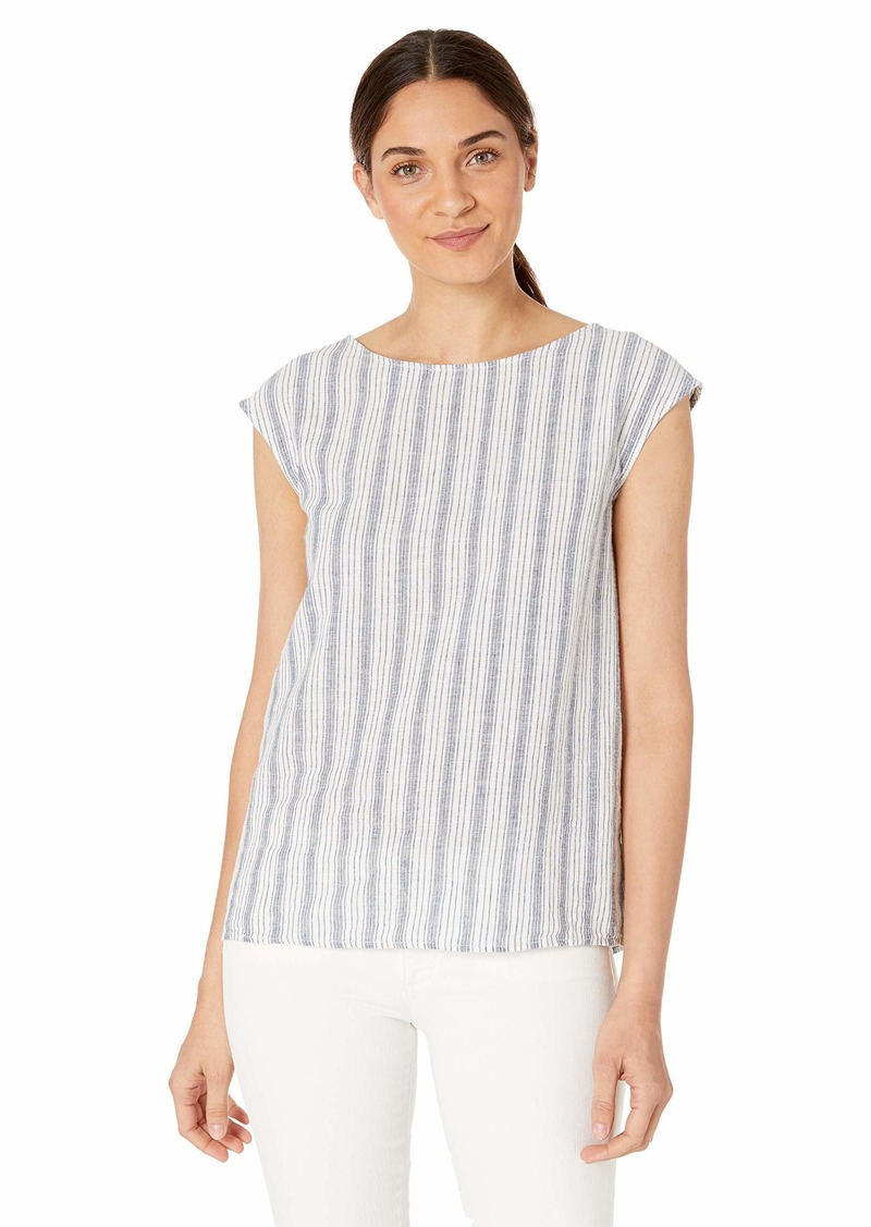 Max Studio Womens Linen Blend Button Back top White/Blue Think and Thin Stripe