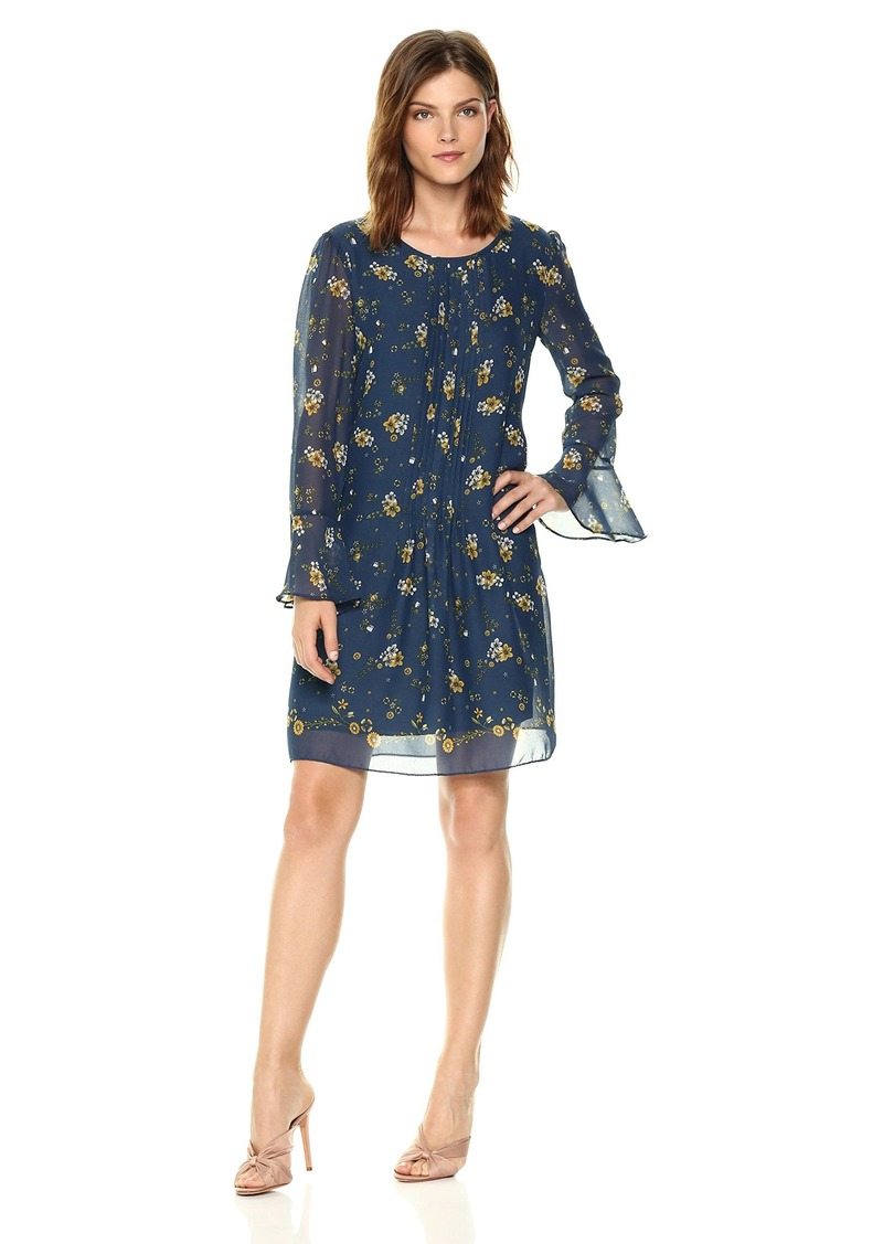 Max Studio Women's Long Bell Sleeve Dress deep Blue/Yellow Field Flower Dance S