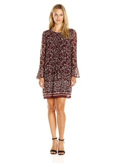 MAX STUDIO Women's Long Bell Sleeve Woven Dress