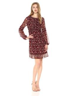 Max Studio Women's Long Dress with Bell Sleeve and Ties Burgundy Tossed Flowers n Leaves Panel