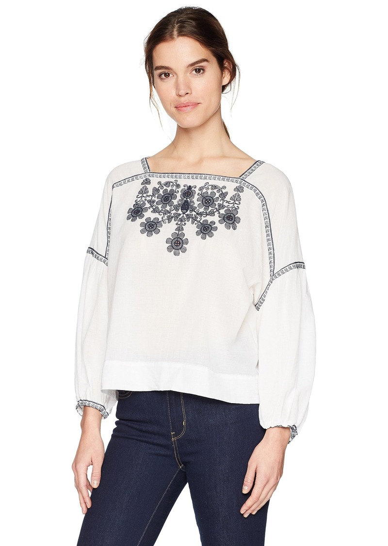 Max Studio Women's Long Sleeve Floral Embroidery Blouse LMI Dk Navy XS