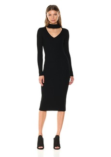Max Studio Women's Long Sleeve Sweater Dress With Choker Neck