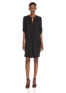 Max Studio Women's Long Sleeve V Mock Neck Dress