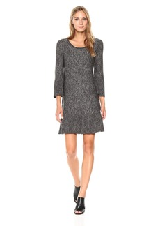 Max Studio Women's Marled Sweater with Bell Sleeve and Pleated Hem