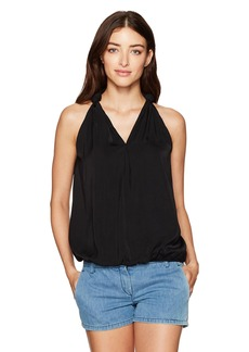 Max Studio Women's Matte Charmeuse Sleeveless Blouse with Self Knot