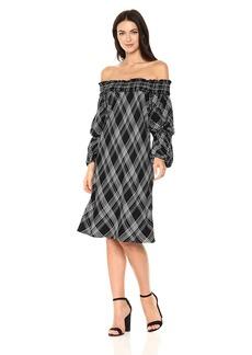 Max Studio Women's Off The Shoulder Flared Sleeve Plaid Dress  S