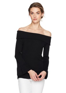 Max Studio Women's Off The Shoulder Flared Sleeve Sweater  L