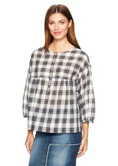 Max Studio Women's Plaid Shirting Blouse
