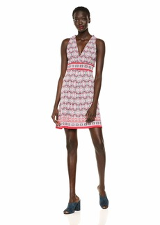 Max Studio Women's Pleated Front Printed Matte Jersey Halter Dress Red/Navy Clover Knot Panel