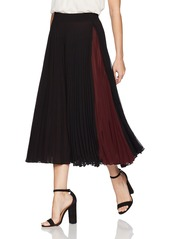 Max Studio Women's Pleated Maxi Skirt with Color Blocked Inset