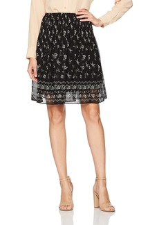 Max Studio Women's Pleated Printed Textured Skirt Black/Ivory Tossed STEM PNL