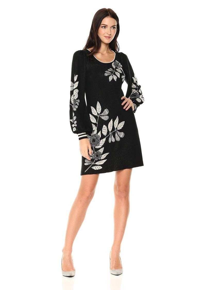 Max Studio Women's Printed Balloon Sleeve Sweater Dress  L