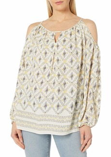 Max Studio Women's Printed Cold Shoulder Blouse