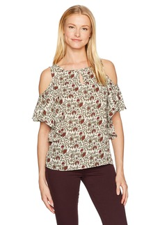 Max Studio Women's Printed Cold Shoulder Short Sleeve Top Key-Hole