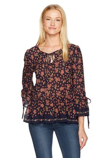 Max Studio Women's Printed Crepe Long Blouse with Bell Sleeve and Ties