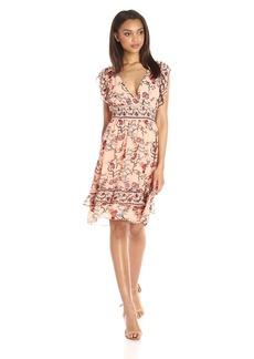 Max Studio Women's Printed Smocked Waist Ruffle Sleeve Dress
