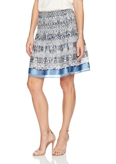 Max Studio Women's Printed Engineered Pleated Skirt