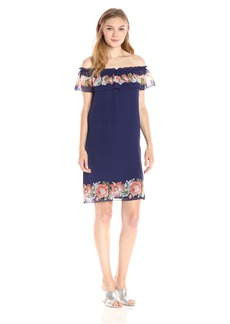 MAX STUDIO Women's Printed GGT Dress Patriot Blue/Coral Flower VASE