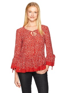 Max Studio Women's Printed Long Bell Sleeve and Ties Blouse