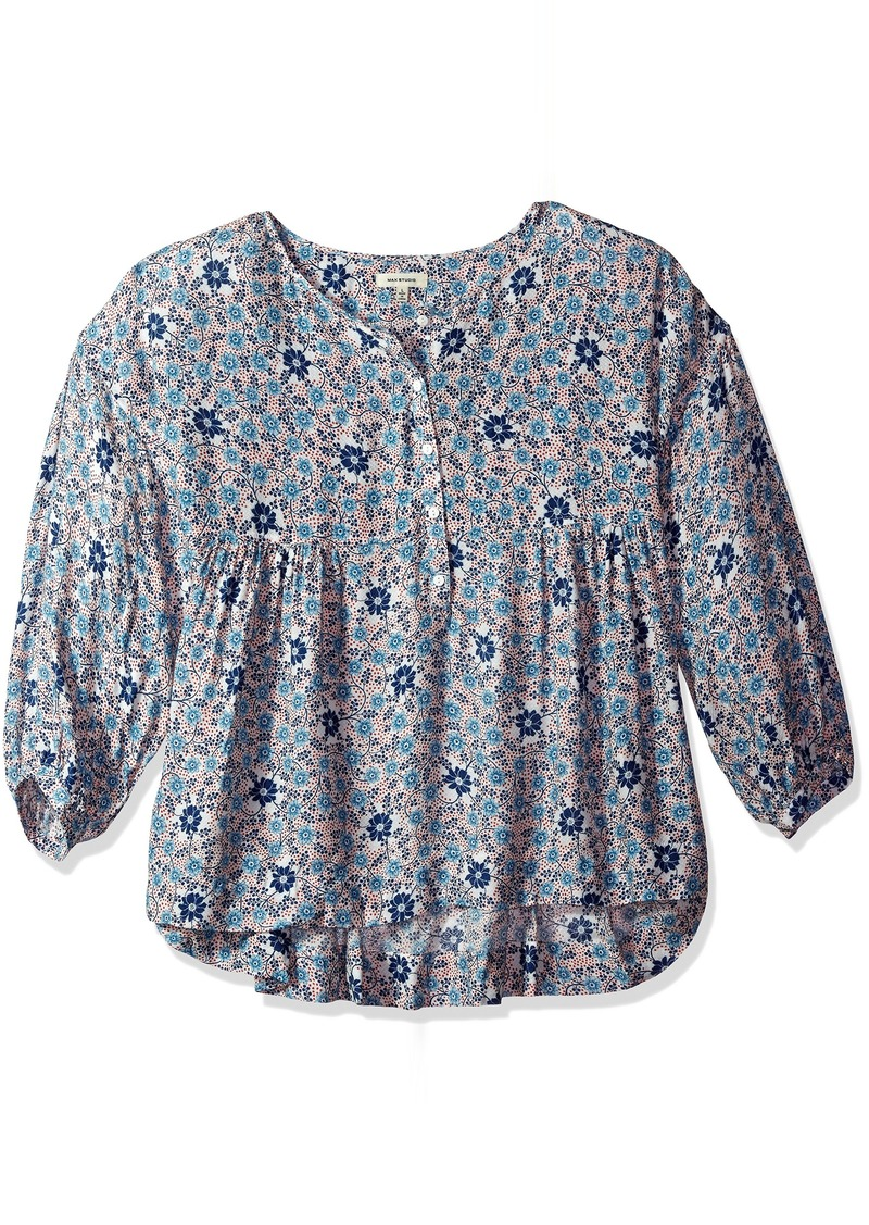Max Studio Women's Printed Longsleeve Floral Blouse with Buttons  XS