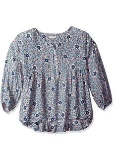 MAX STUDIO Women's Printed Longsleeve Floral Blouse with Buttons  L