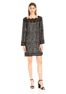 Max Studio Women's Printed Matte Charmeuse Lace Longsleeve Dress  M
