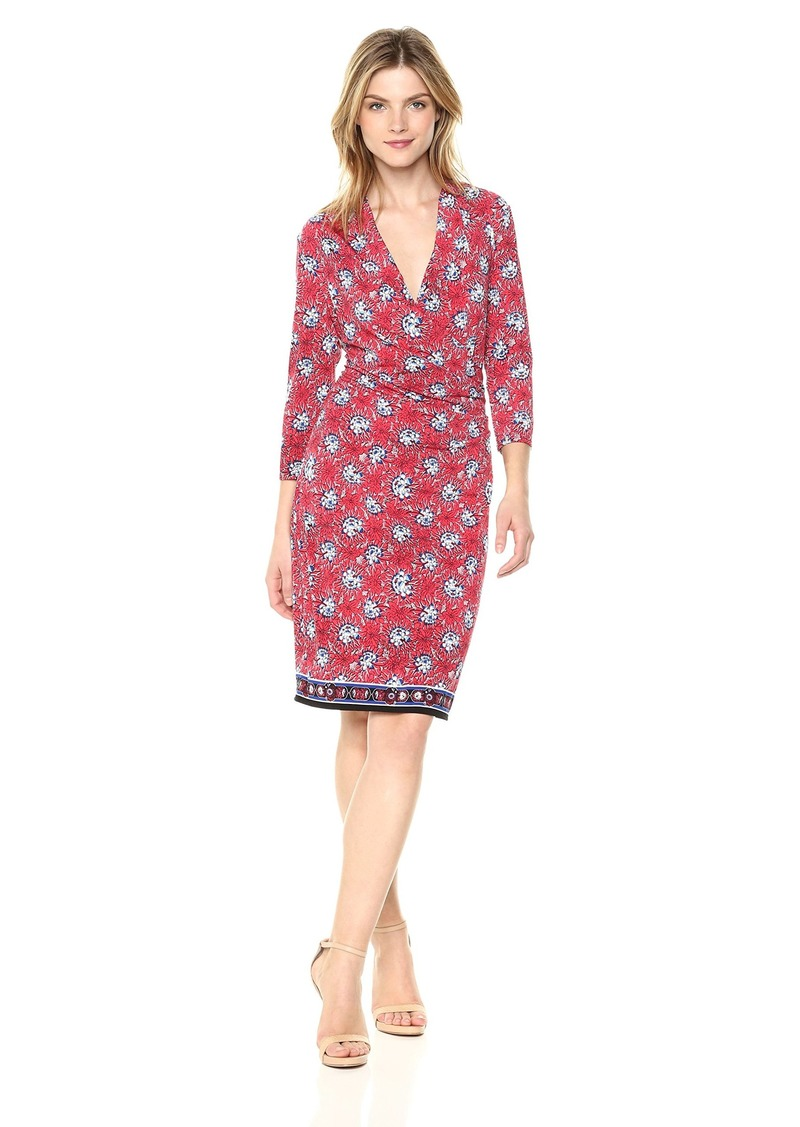 Max Studio Women's Printed Matte Jersey Dress red/Head/Black Lily Paradise L