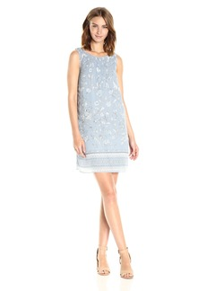 MAX STUDIO Women's Printed Pleated Dress Soft Blue/Ivory Cascading Spring PNL