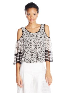 Max Studio Women's Printed Poly Georgette Cold Shoulder Blouse  XS