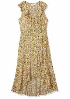 Max Studio Women's Printed Ruffle Wrap Midi Dress