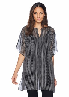 Max Studio Women's Printed Short Sleeve Georgette Tunic Black/Ivory Center Front Curve Panel