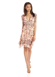 Max Studio Women's Printed Smocked Waist Ruffle Sleeve Dress