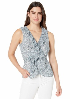 Max Studio Women's Printed Trapeze Top Ivory/Ice Blue Magnolia Cluster x-Small