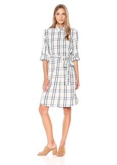 Max Studio Women's Rayon Plaid Bell Sleeve Dress with Tie Waist