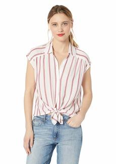 Max Studio Women's Rayon Stripe Sleeveless Button Down top White/Red
