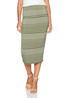 Max Studio Women's Roll Over Midi Skirt Olive/Ivory  Multi Gradation Stripe